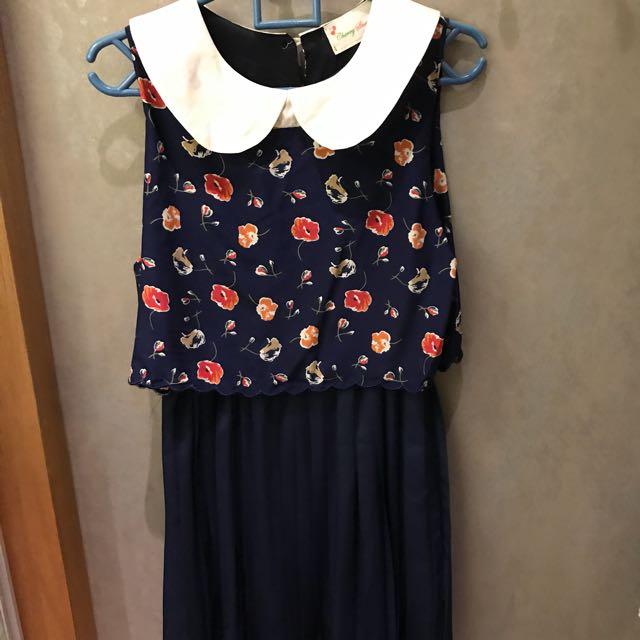 Preloved Flowery Pleat Dress