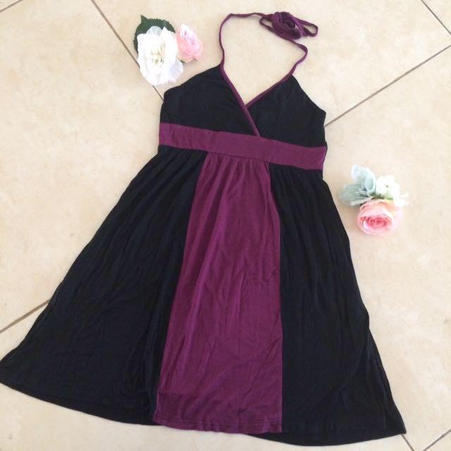 Purple On Black Dress