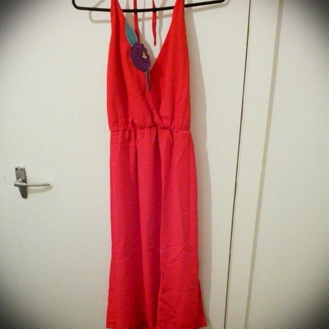 Red Halter Neck Vintage Dress