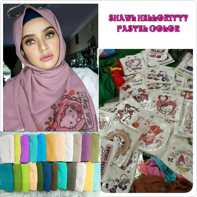 a1611e5af Shawl Hello Kitty Pastel Colour, Muslimah Fashion on Carousell