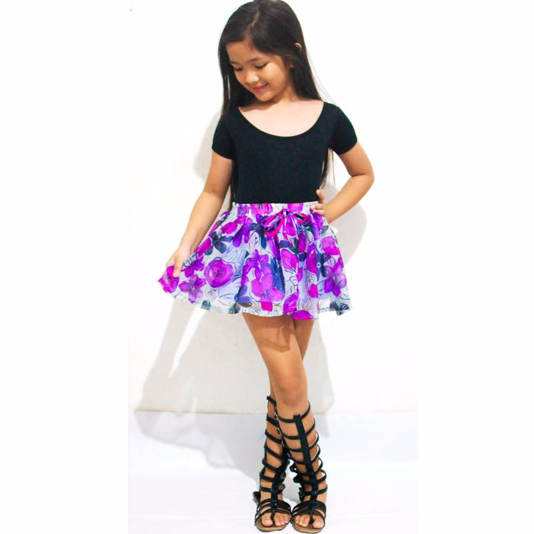 SKIRT FLORAL PURPLE LAVENDER KIDS GIRLS