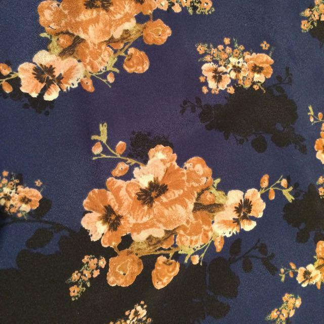 Tokito Mini Dress Navy With Cherry-blossom Print