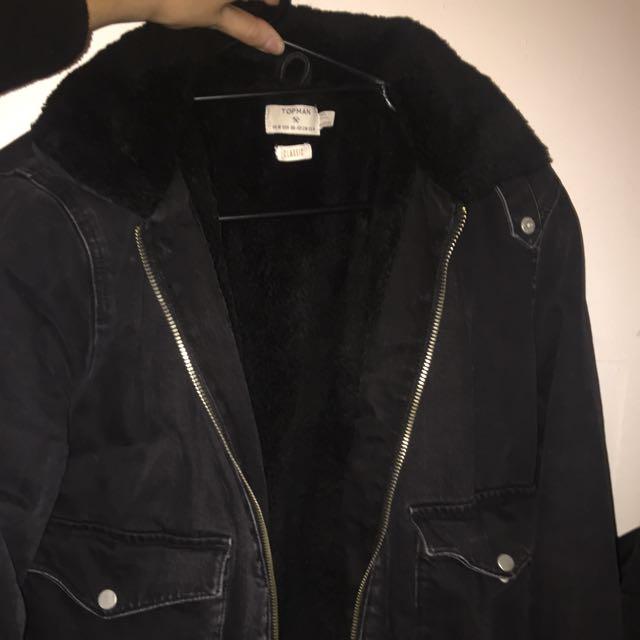 Topman Denim Fur Jacket