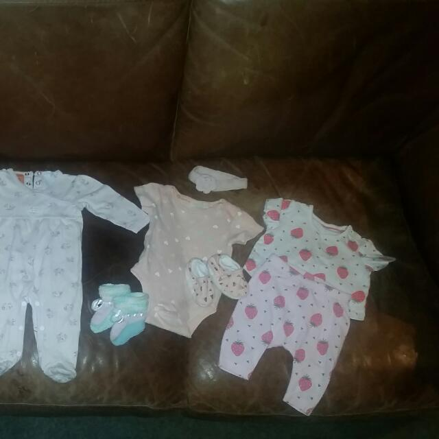Variety Of 0-3months Baby Clothes Including Cute Strawberry set