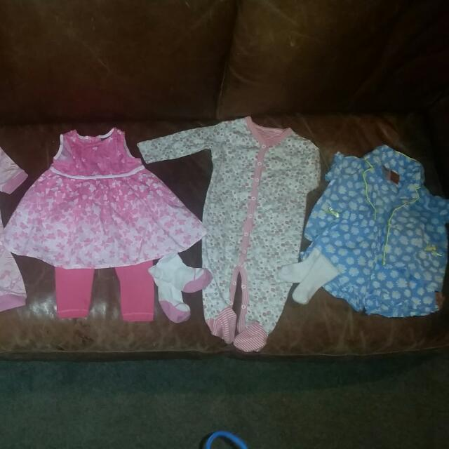 Variety Of Cutzie 3-6month Baby Clothes Including PJ's