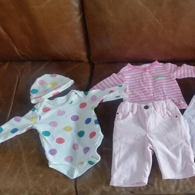 Variety Of New Born Clothes Including Pair Of Pink Cords