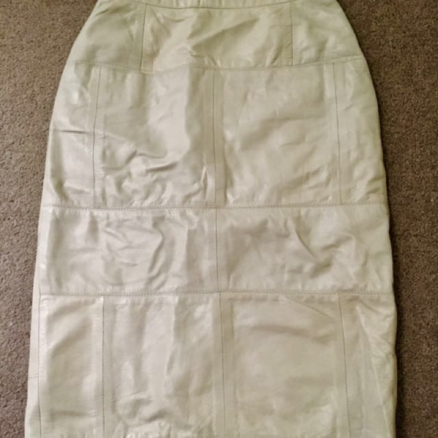 Vintage High Waist Leather Skirt XS