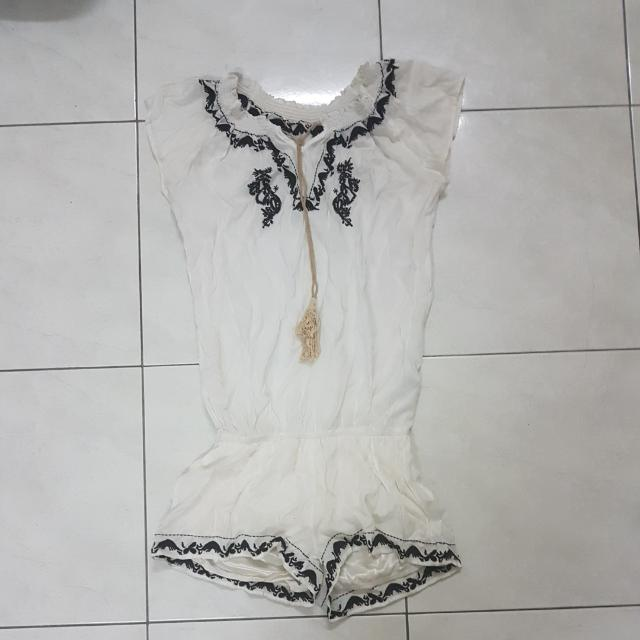 White And Black Embroidered Romper