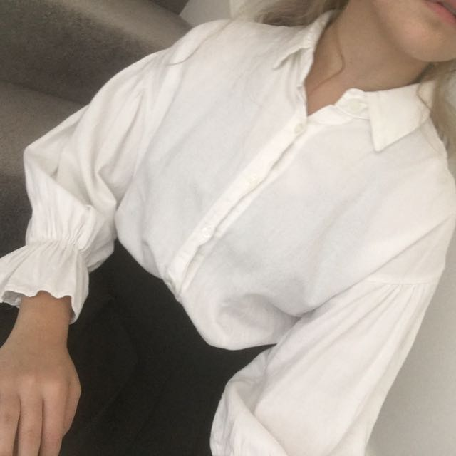 White Blouse With Puffy Arms