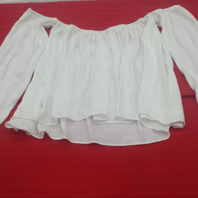 White Crop Top Blouse...