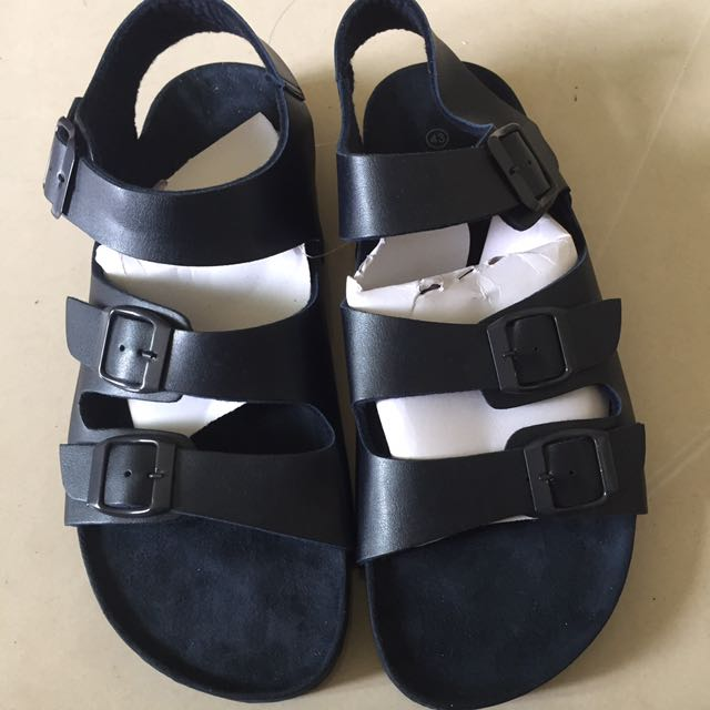降價求售 ZALORA triple straps sandal 男性三線 人造皮革 涼鞋 43號 10號