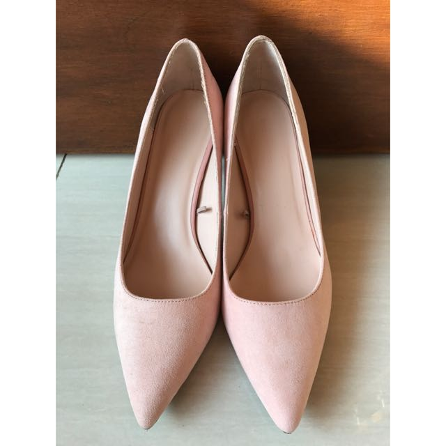 Zara Mid Heels Shoes Soft Pink Size 38