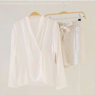 Pompous Korean Off White Blouse