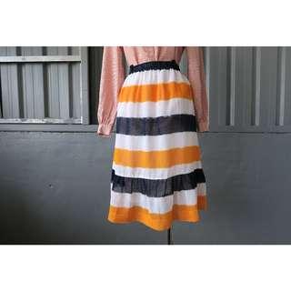 ::FlowerHolic:: Vintage 古著條紋紡紗魚尾裙