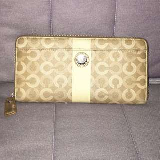 Brown leather Coach monogram long wallet
