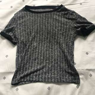 Grey Ribbed Cropped Tshirt Forever21
