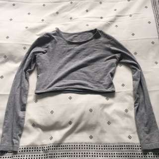 Primark Long Sleeve Grey Crop Top