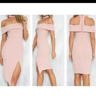 Cocktail Bodycon Kardashian Choker Dress Blush Pink