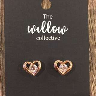 CZ Rose Gold Hearts