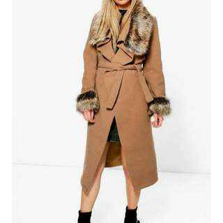 BNWT Size Small 6 / 8 Penny Lane Shearing Style Coat W/Faux Fur Collar & Cuffs
