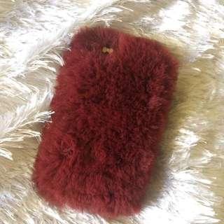 Maroon IP 5S Fur Case