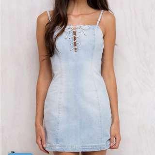 Denim Lace Up Dress
