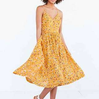 Urban Outfitters Yellow Floral Midi Dress Sz 4 / S