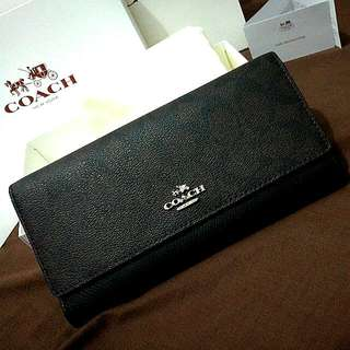 Coach Signature Trifold 53763 Wallet Organizer Clutch Saddle with ID Holder Classic Black