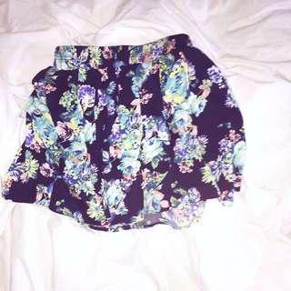 Blue floral miniskirt