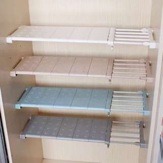 Wardrobe Rack Adjustable Nail-free Divider Shelf(White)
