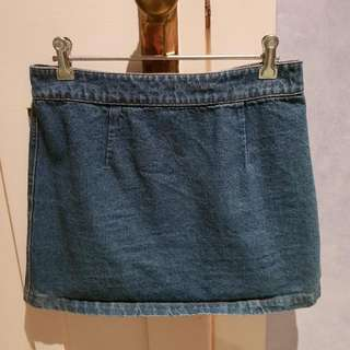 Subtitled Denim Skirt