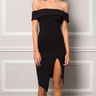Black Over The Shoulder Dress