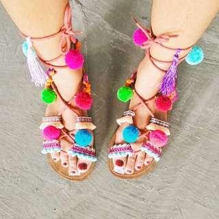Sandal Gladiator Pompom