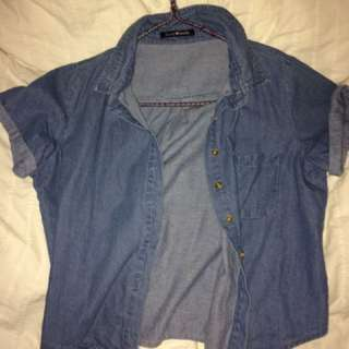 Brandy Melville Denim Crop Button Up