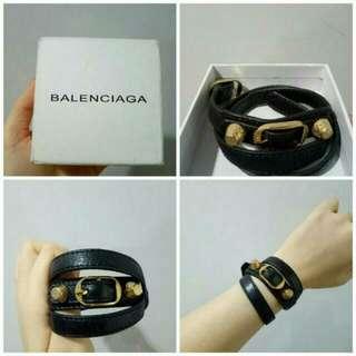 Balenciaga Triple GHW Bracelet in Black