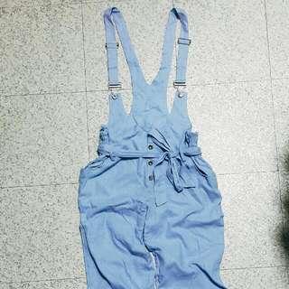Air Space棉麻材質吊帶寬褲
