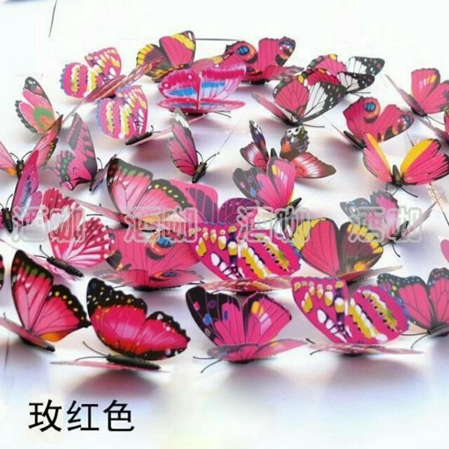 017【家飾出清】(酒咖10元專區)3D蝴蝶壁貼