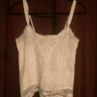 Abercrombie & Fitch Beaded White Boho Tank Top