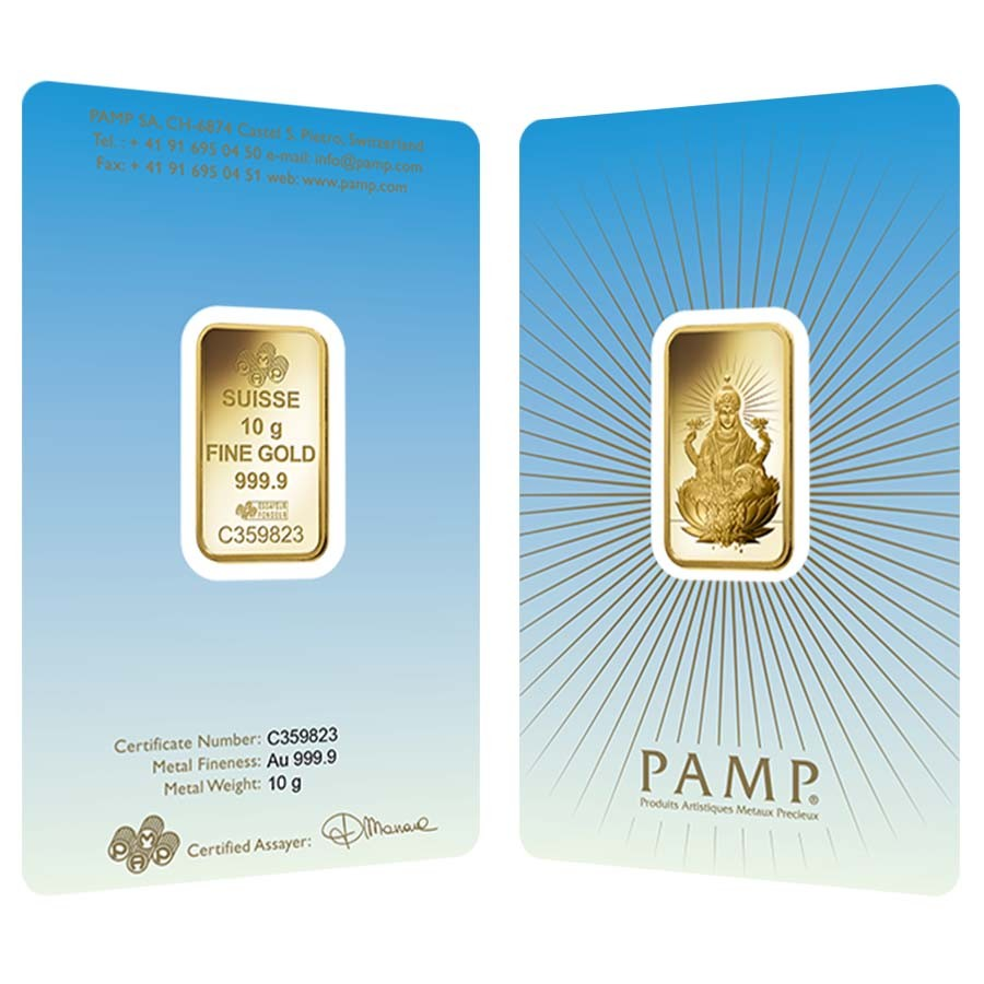 PAMP Suisse Lakshmi 999.9 Fine in Assay Gold Bar 1 oz