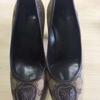Gucci緹花布小牛皮高跟鞋-經典款(8成新)