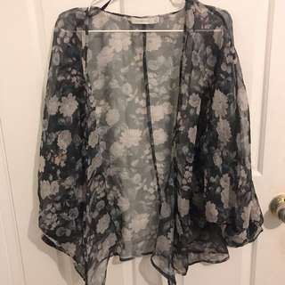 MINK PINK SHEER FLORAL OVER THROW JACKET
