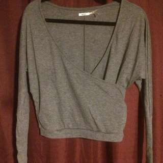 Urban Outfitters Kimchi Blue Grey Wrap Top