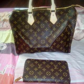 Auth LV Speedy35 in monogram and Checkbook