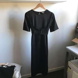Black Silk Look Midi T-shirt Dress