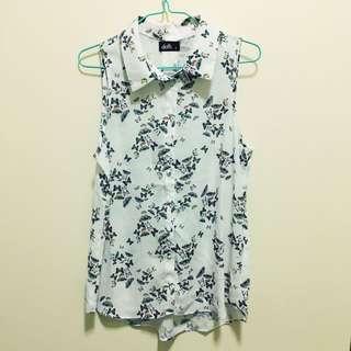 Dotti Butterfly Print Sleeveless Collar Top Size 8