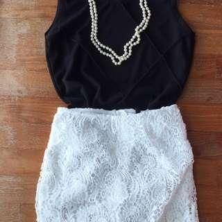 ✔️H&M White Crochet Lace Skirt