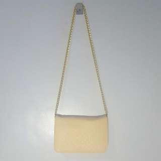 Beige Pink Body Bag Chain Strap