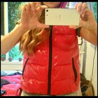 Red Winter Hooded Vest
