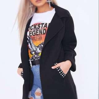 Black Studded Pocket Coat