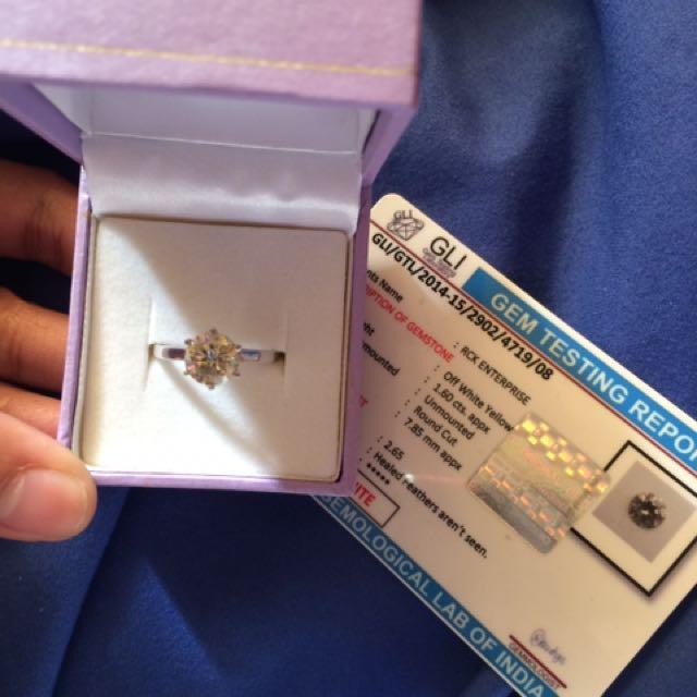 1.60ct Engagement Ring Moissanite VS2 Clarity